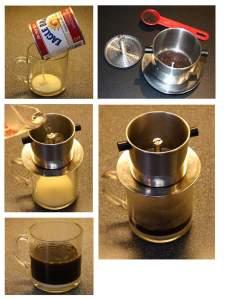 Sajian Kopi Vietnam yang terkenal adalah seduhan kopi yang dipadu dengan es batu dan susu kental manis.